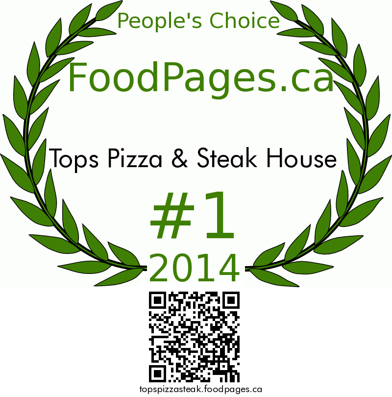 Tops Pizza & Steak House FoodPages.ca 2014 Award Winner